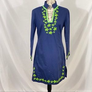 Sail to Sable Blue Embroidered Dress Size Small